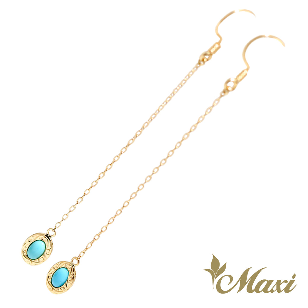 [14K Gold] Sleeping Beauty Turquoise Pierced Earring*Made-to-order*(LBE P1262 chain+hook)