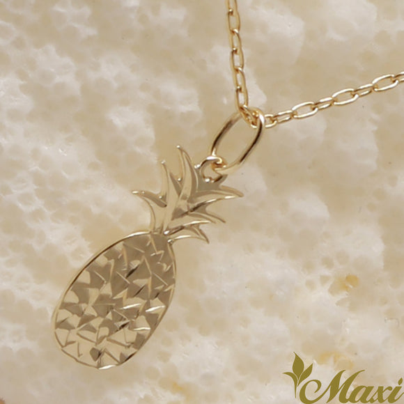 14K Gold Pineapple Pendant-Hand Engraved Traditional Hawaiian Design (KP0103)