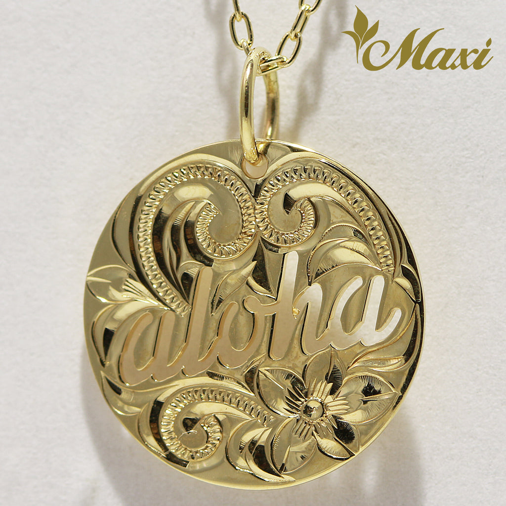[14K Gold] Aloha Cut Out Round Pendant *Made-to-order*(KP0132)