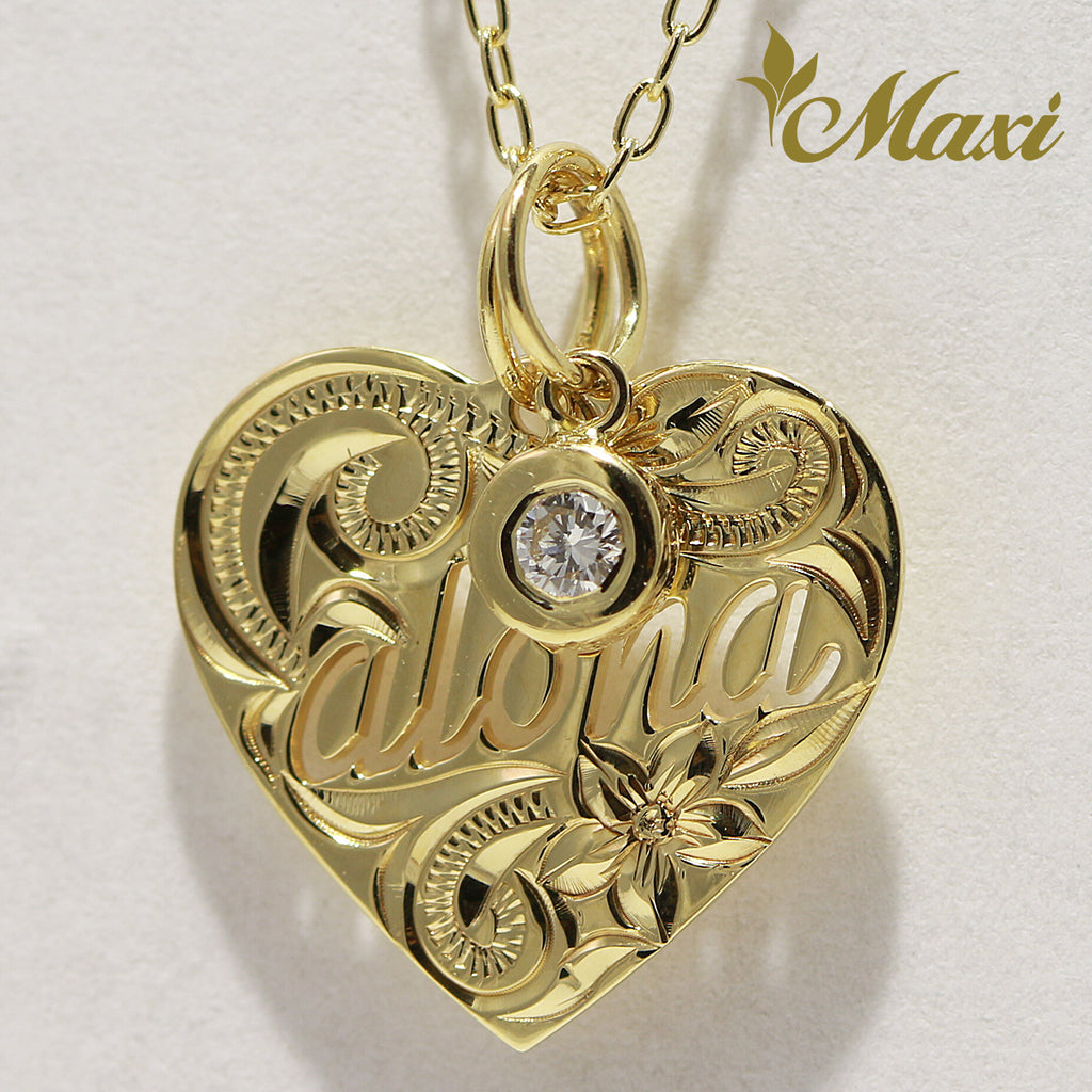 [14K Gold] Aloha Cut Out Heart Pendant/ Single Diamond Set (KP0133, P1165) [Made to Order]