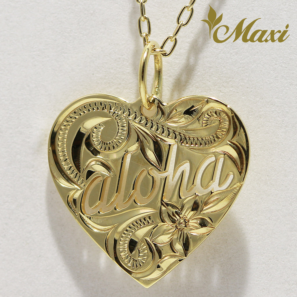 14K Gold -Aloha Cut Out Heart Pendant/Hand Engraved Traditional Hawaiian Design (KP0133)