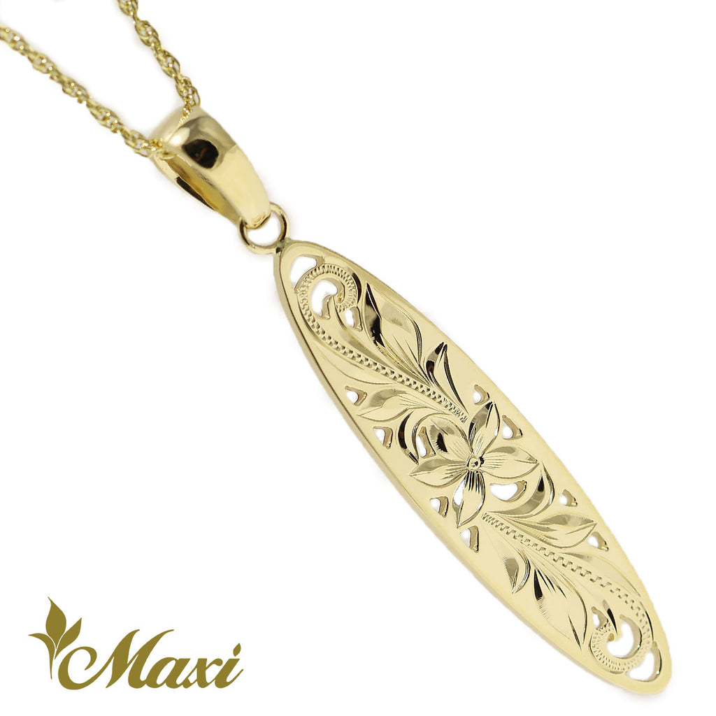 [14K Gold]Surfboard Cut Out Work Pendant*Made-to-order*(KP0135)