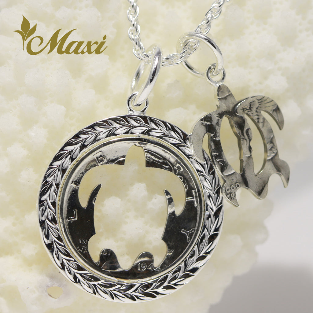 [Silver 925] Vintage coin series/Mercury coin/Honu shape cut-out Pendant/Frame with Hand engraved Maile leaf design (KP0139)