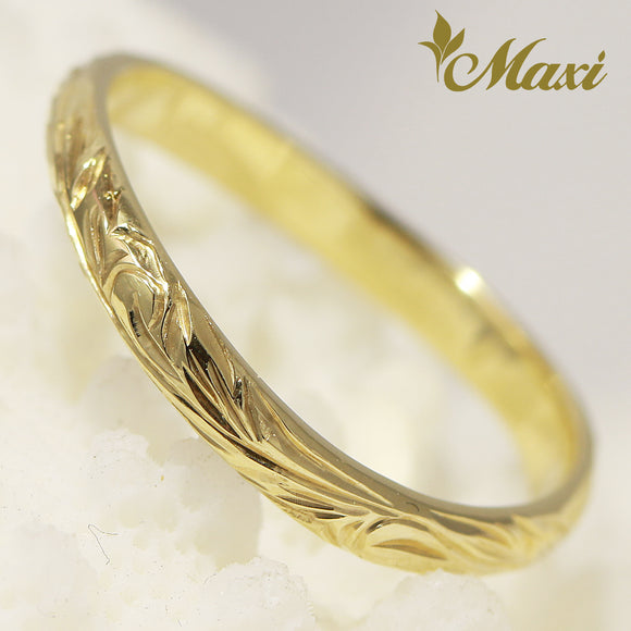14K Yellow Gold/ 2mm width wavy line ring/ Hand Engraved Hawaiian heritage princess Design (KR0026)