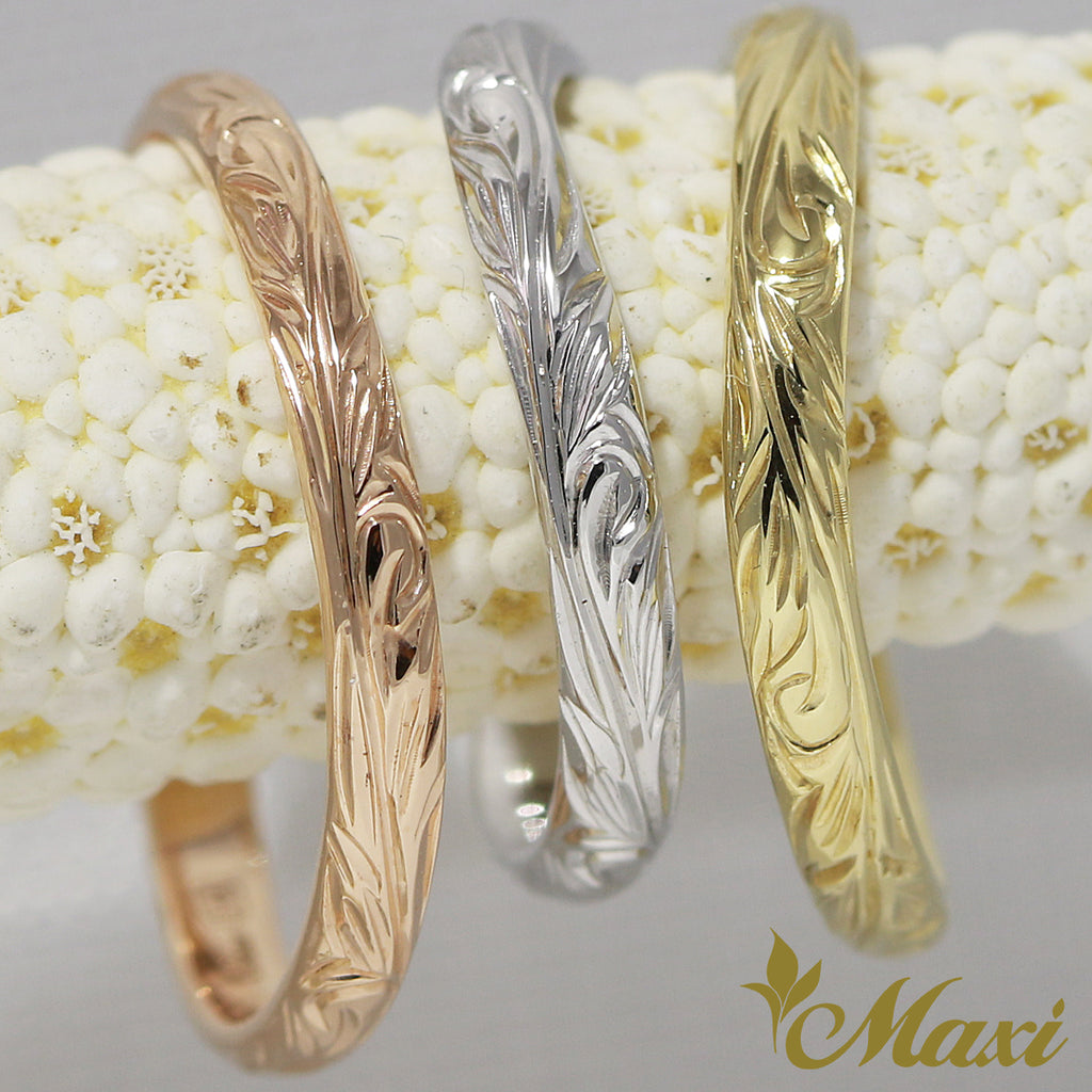 [14K Yellow Gold] 2mm width wavy line ring [Made to Order] (KR0026)