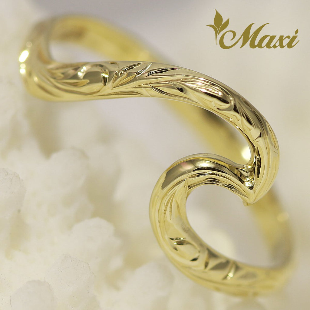 [14K Yellow Gold] Large Wave Ring [Made to Order] (KR0039)(Best Seller)