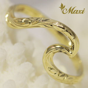 [14K Yellow Gold] Large Wave Ring-Hand Engraved Hawaiian Heritage Princess  Design (KR0039)(Best Seller)