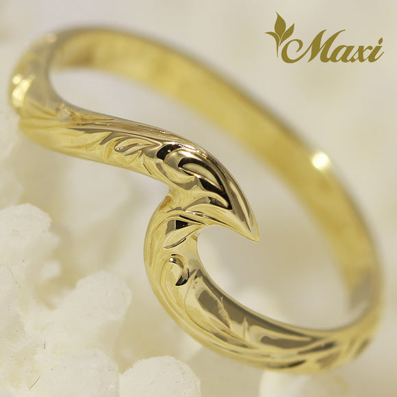 14K Yellow Gold Small Wave Ring-Hand Engraved Hawaiian Heritage Princess Design (KR0040)(Best Seller)