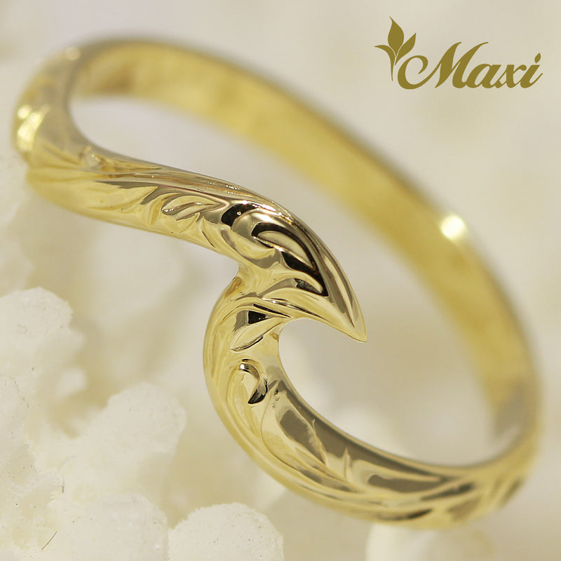 [14K Yellow Gold] Small Wave Ring [Made to Order] (KR0040)(Best Seller)