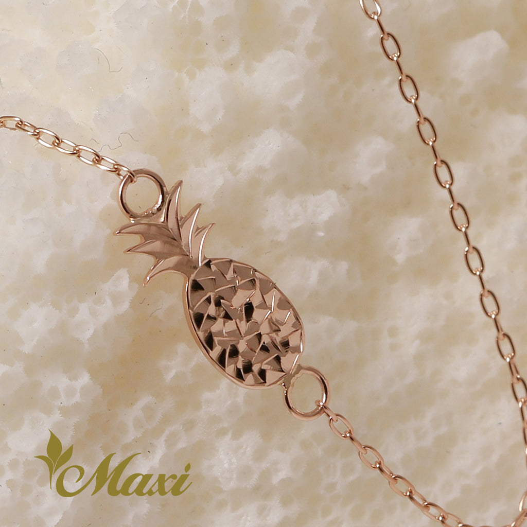 [14K Pink Gold] Pineapple Anklet -Hand Engraved Traditional Hawaiian Design (B0594)