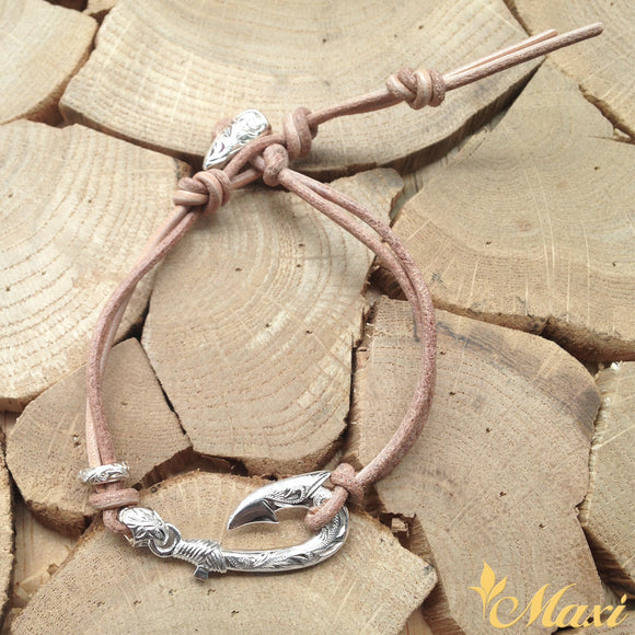 Silver 925 Fish Hook Leather Bracelet