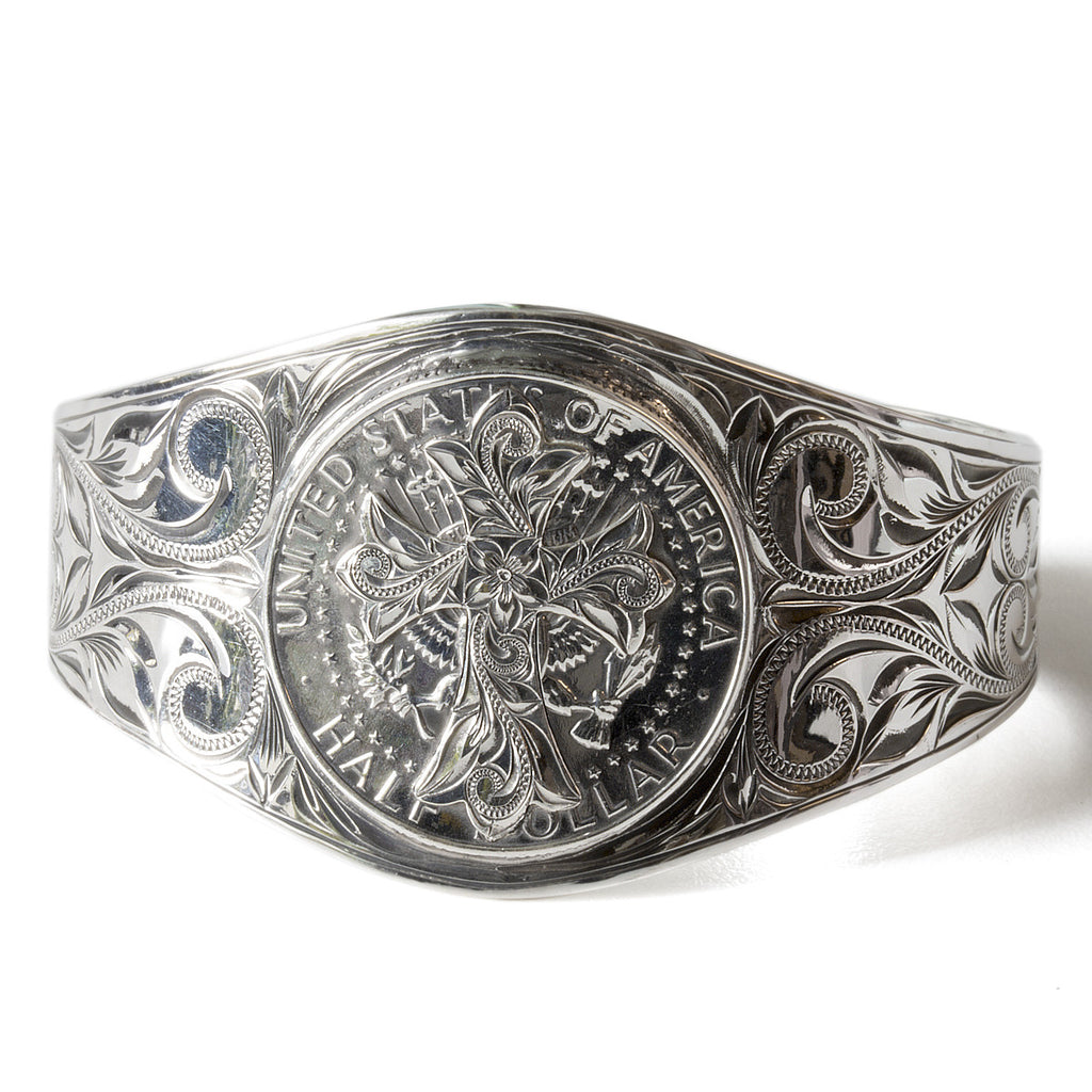 Silver 925 Kennedy Coin Cross Bangle