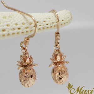 [14K Gold] -3D Pineapple Hook Pierced Earring*Made-to-order*(E0230)