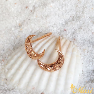 14K Pink Gold Moon Pierced Earring