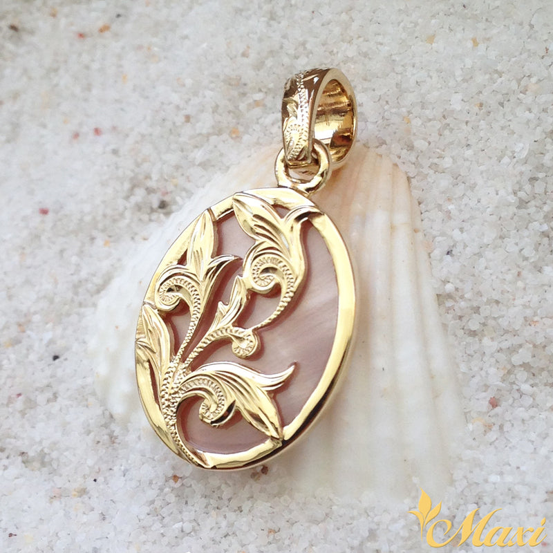 14K Yellow Gold Mother of Pearl Pendant