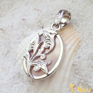 [14K Gold] Mother of Pearl Pendant-Hand Engraved Traditional Hawaiian Design (P0189)