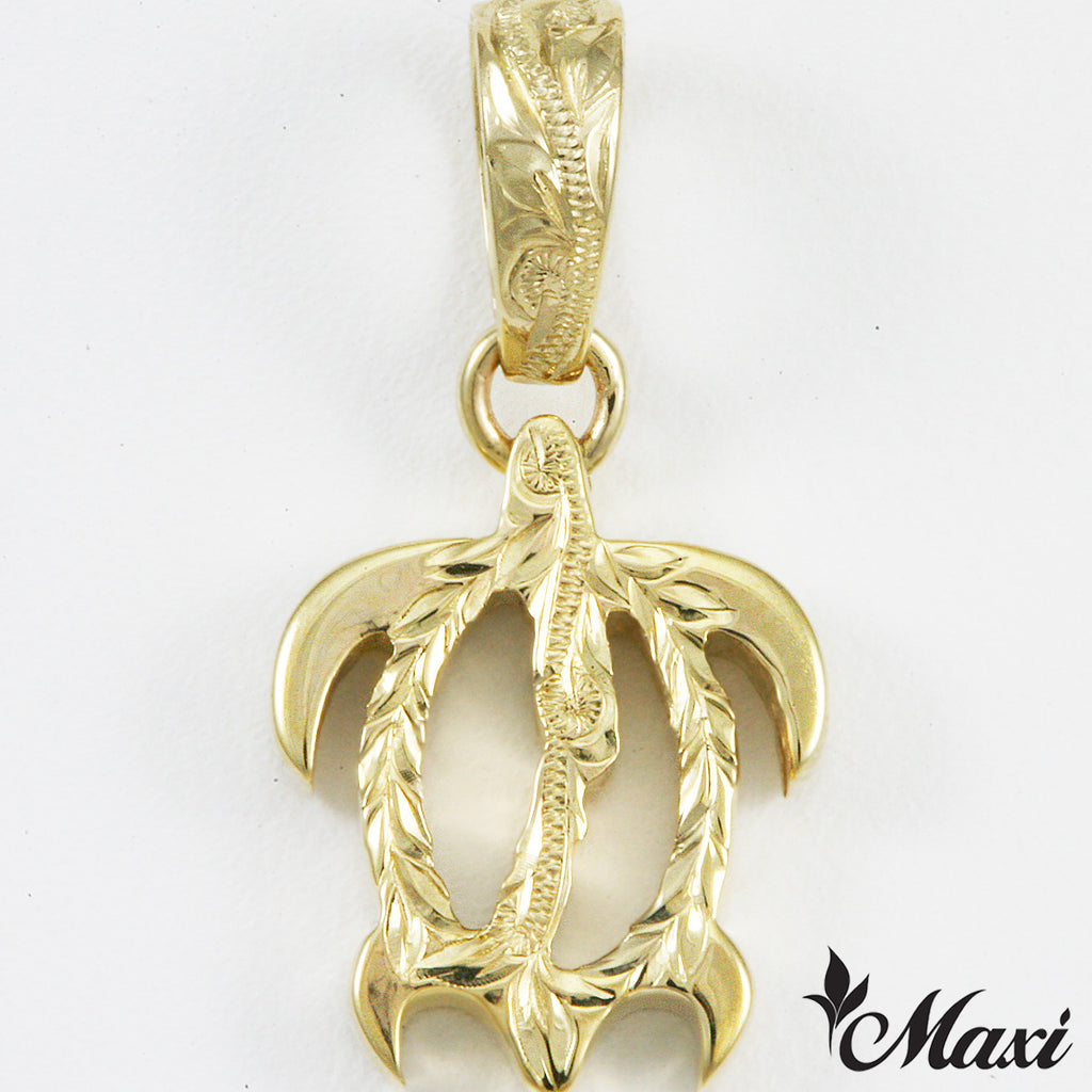 14K Yellow Gold Honu Pendant Small