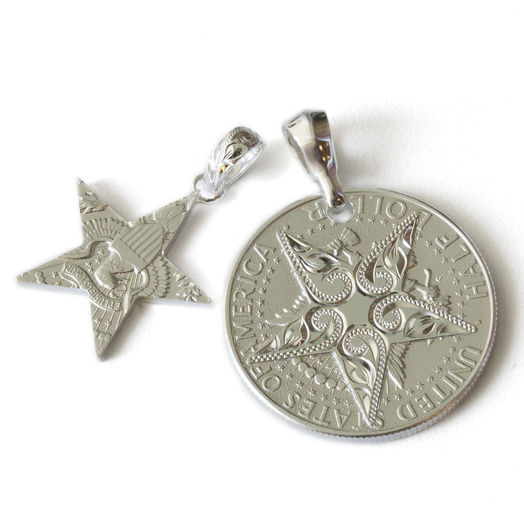 Silver 925 Kennedy Coin Star Cutout Pendants