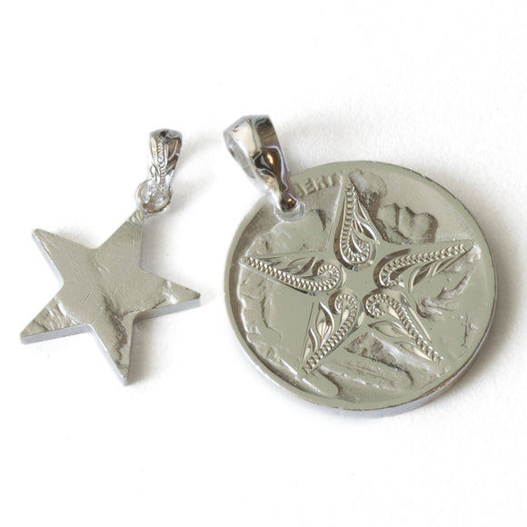 Silver 925 Buffalo Nickel Coin Star Cutout Pendants