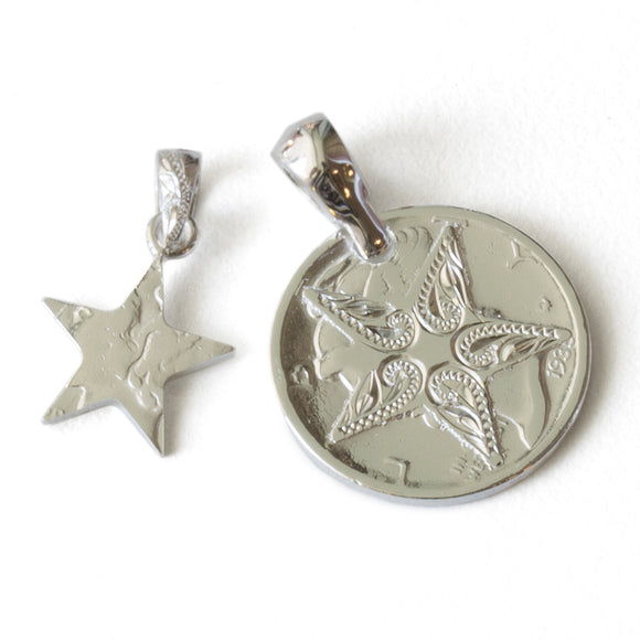 Silver 925 Mercury Dime Coin Star Cutout Pendants