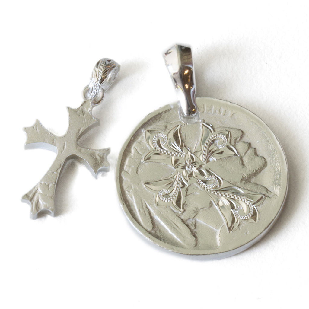 Silver 925 Buffalo Nickel Coin Cross Cutout Pendants