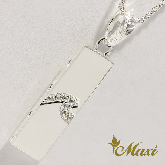 [Silver 925] Crystal Wave Bar Pendant (P1271-B) [Made to Order]