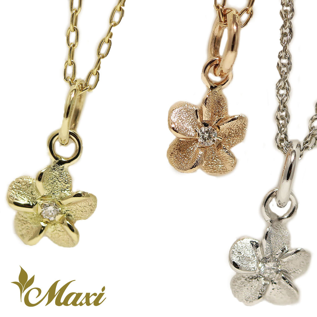 [14K Gold]Matte Plumeria Flower Pendant with Diamond*Made-to-order*(P E0215)