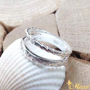 Silver 925 Twisted Open Ring with Crystal