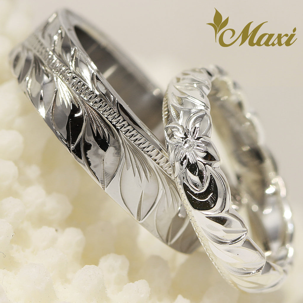 [Silver 925 & Black Chrome] Maile Leaf Ring Set/ Couple & Wedding [Made to Order] (R0735+R0793)