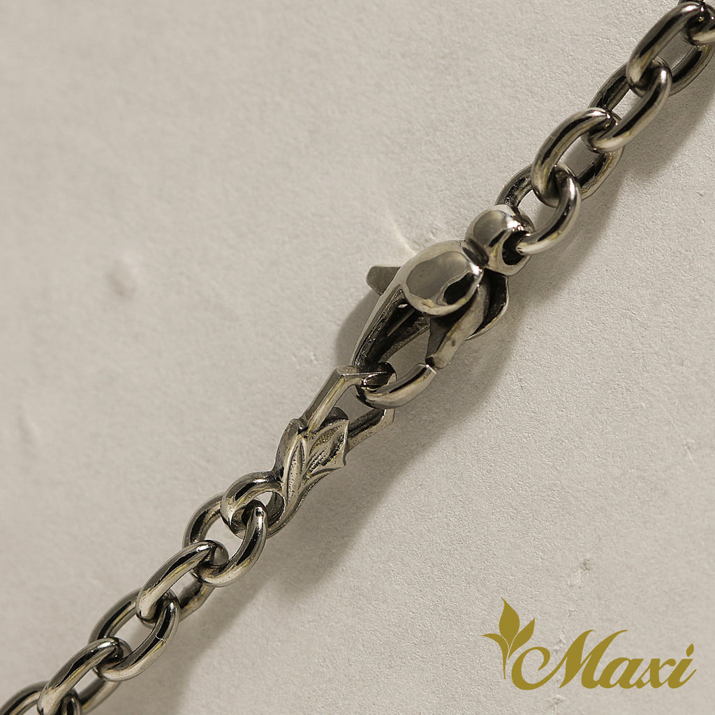 [Black Chrome Silver 925] Necklace -Hand Engraved Traditional Hawaiian Design*Made-to-order*(N0017)