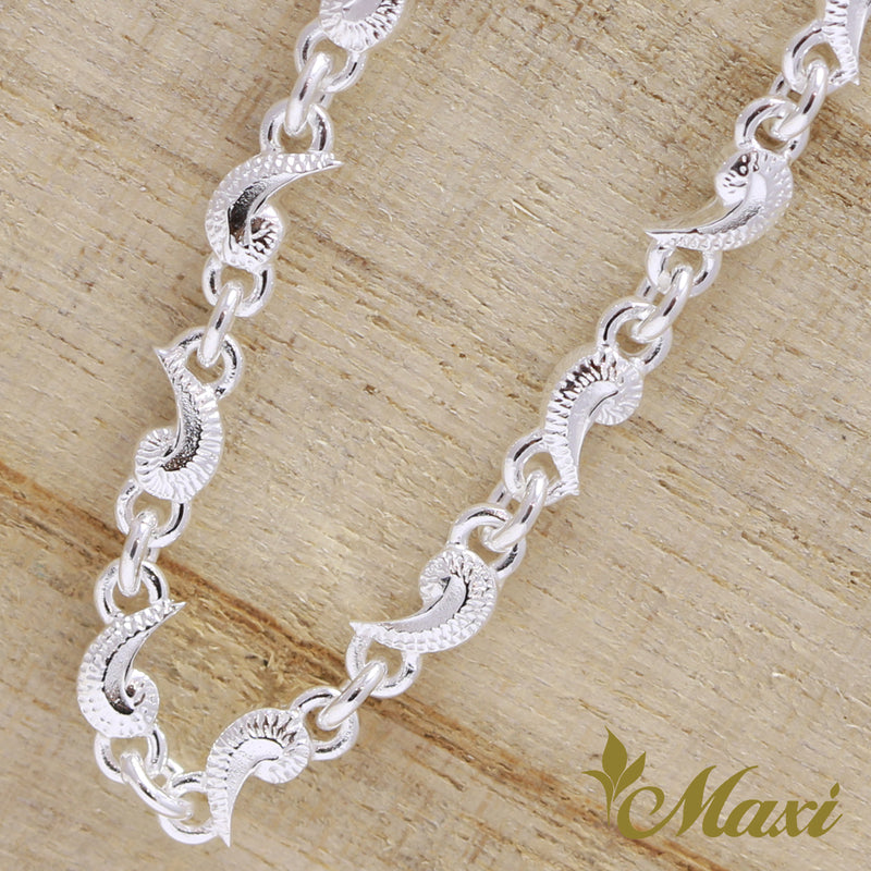 [Silver 925] Scroll Necklace -Hand Engraved Traditional Hawaiian Design*Made-to-order*(N0022)