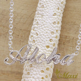 Silver 925 Custom Letter Necklace Medium-Hand Engraved Traditional Hawaiian Design (N0164)
