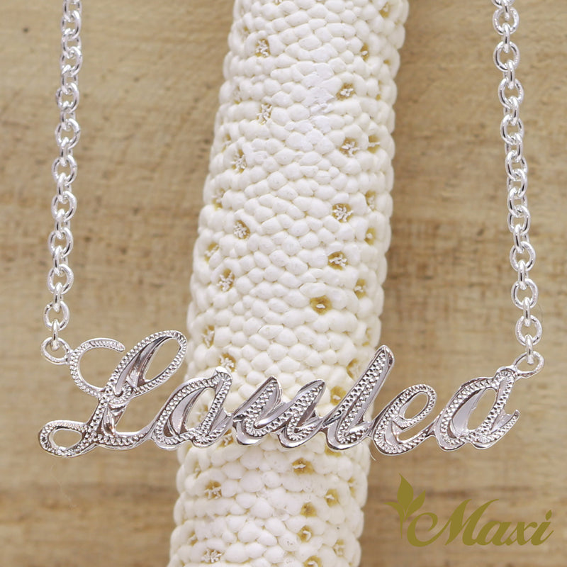 [Silver 925] Custom Letter Necklace Medium-Hand Engraved Traditional Hawaiian Design (N0164)