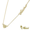 [14K Gold] Aloha/Love/Laulea Letter Necklace with Heart Charm*Made-to-order* (N0181)
