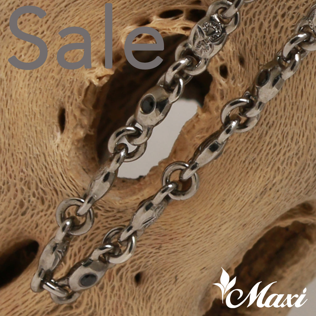 [Black Chrome Silver 925] Necklace -Hand Engraved Traditional Hawaiian Design*Made-to-order*(N0312) SALE