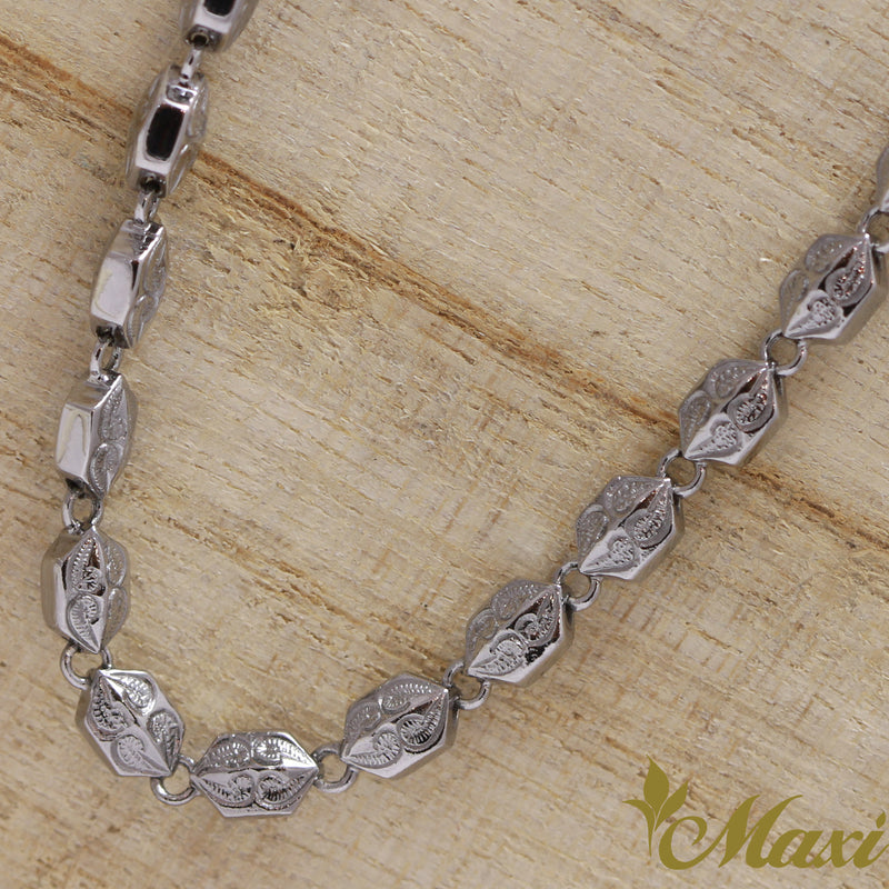 Black Chrome Silver 925 Necklace -Hand Engraved Traditional Hawaiian Design(N0327) SALE