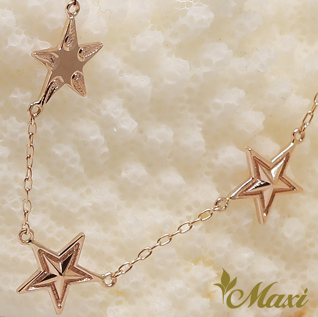 14K Pink Gold-Tripple Star Necklace/Hand Engraved Traditional Hawaiian Design (N0345)