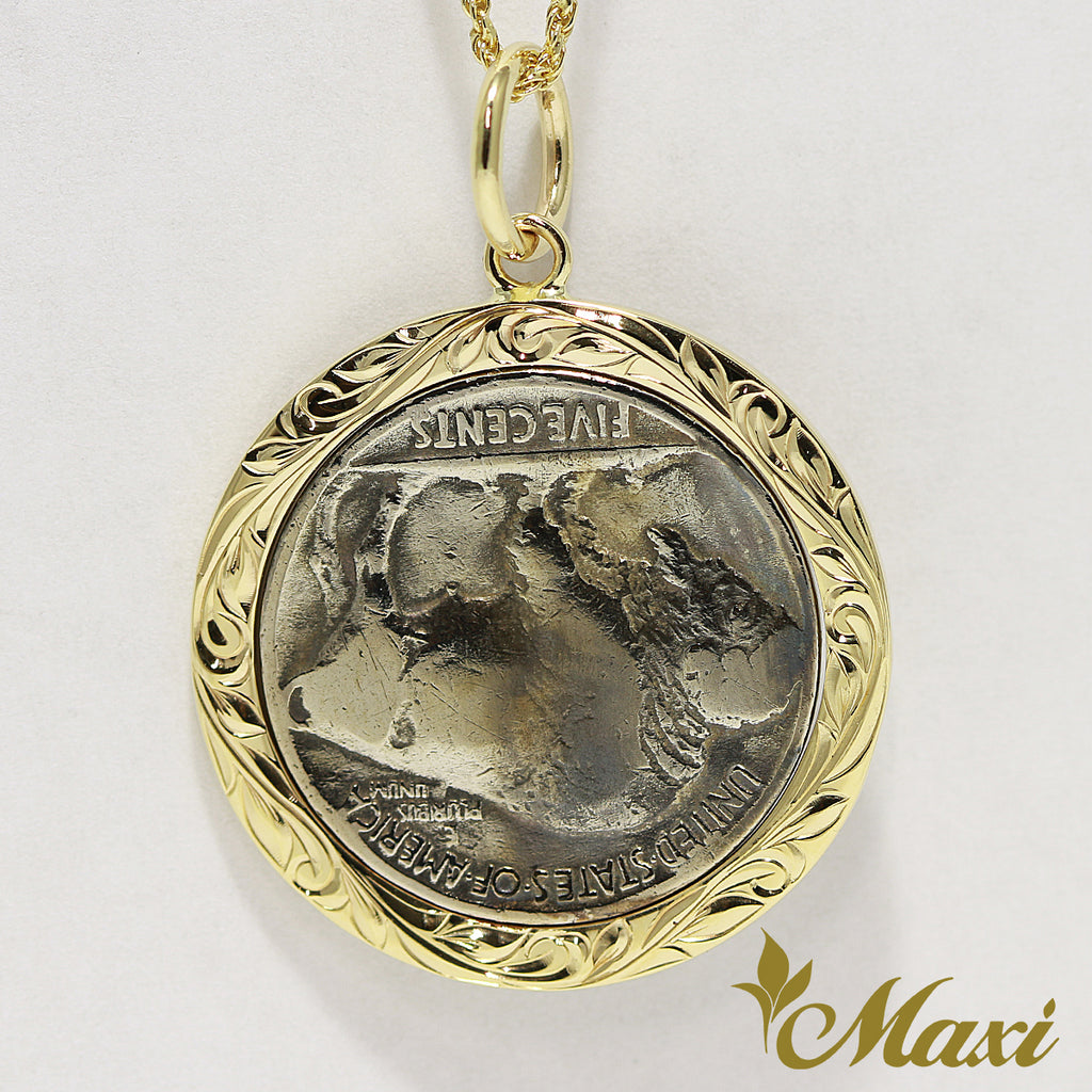 [14K Yellow Gold] Buffalo Nickel Coin Pendant-Hand Engraved Traditional Hawaiian Design*Made-to-order* (P1229)