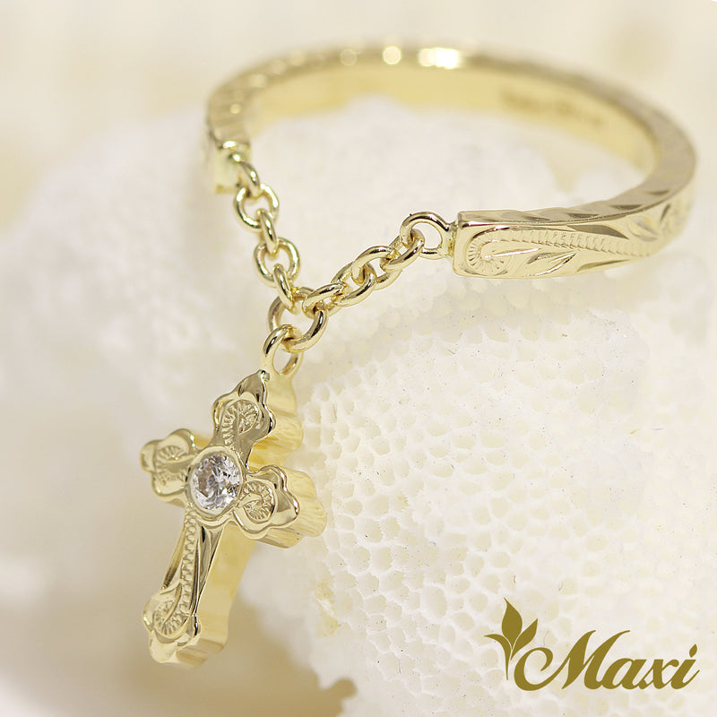 [14K Yellow Gold] Cross swing Pinky Ring with diamond