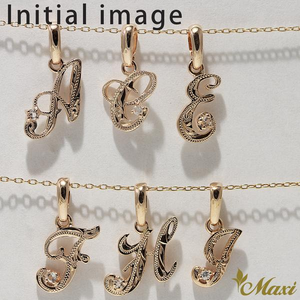 [14K Gold] Initial and Heart Pendant Set (P0101 + H0107) [Made to Order]