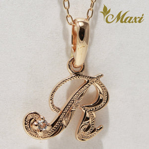 [14K Pink Gold] Initial Pendant with Traditional Hawaiian Engraving Small (P0101)