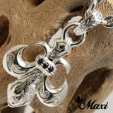 Silver 925 Fleur Dei Lis Pendant-Hand Engraved Traditional Hawaiian Design (P0117)
