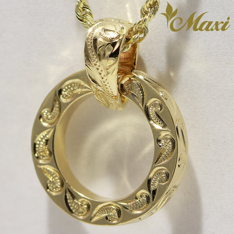 [14K Yellow Gold] -Hawaiian Heritage Styled Scroll Design Hand Engraved Round Pendant(P0127)