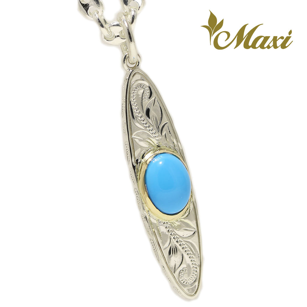 [Silver925]Turquoise Surfboard Pendant *Made-to-order*(P0172-turquoise)