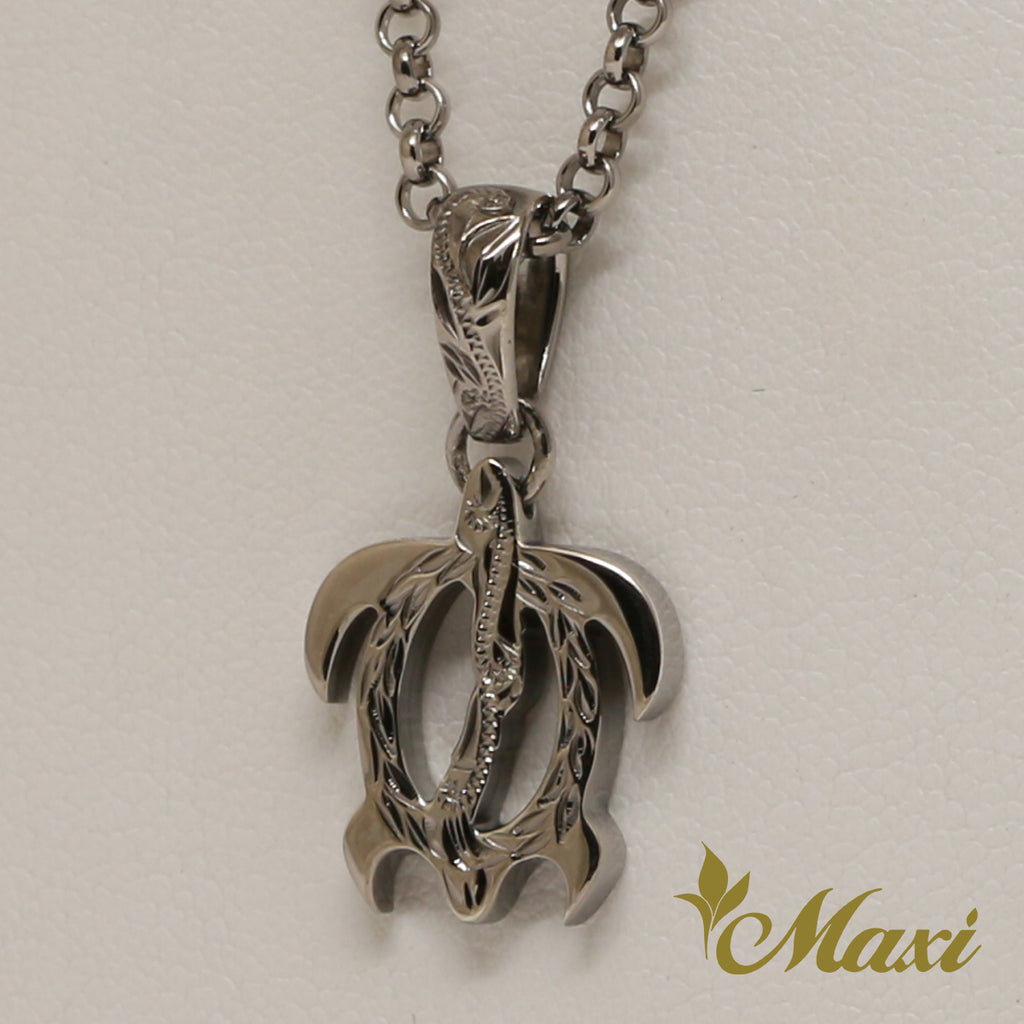 [Black Chrome Silver 925] Honu Pendant Small-Hand Engraved Traditional Hawaiian Design (P0356)