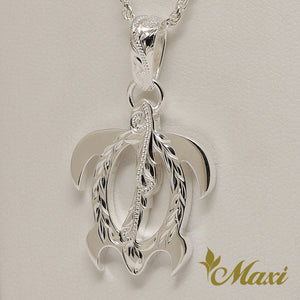 Silver 925 Honu Pendant Large-Hand Engraved Traditional Hawaiian Design (P0357)