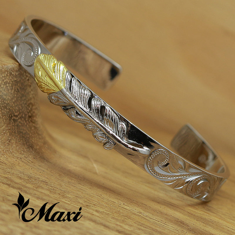[Black Chrome Silver 925] Yellow Gold Face-Hand Engraved Traditional Hawaiian Design*Made-to-order* (B0424)