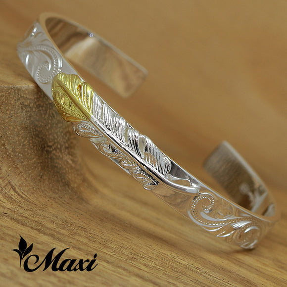 Silver 925 Yellow Gold Face-Hand Engraved Traditional Hawaiian Design (B0424)