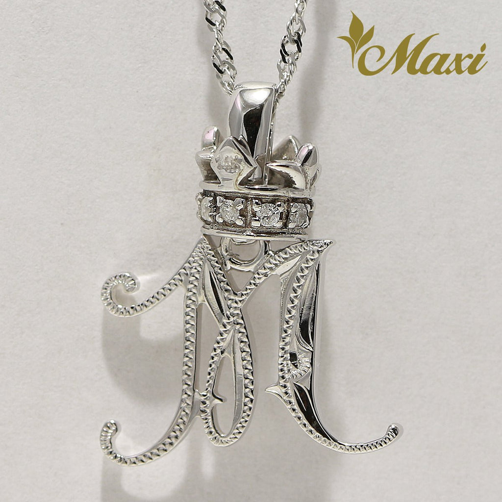 [14K White Gold] Hawaiian Heritage Old English Initial Pendant with Diamond Crown-Hand Engraved Traditional Hawaiian Design (P0428/A0124)