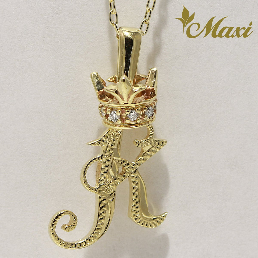 [14K Yellow Gold] Old English Initial Pendant with Diamond Crown-Hand Engraved Traditional Hawaiian Design (P0428)